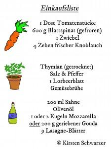 Einkaufsliste für die Uni-Dschungel Lasagne