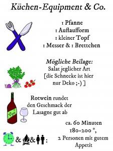 Check-Liste für die Uni-Dschungel Lasagne